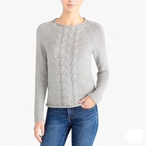 J. Crew Cable Knit Roll Neck Sweater